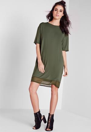 Missguided Cut Out Back T-Shirt Dress Casual Khaki