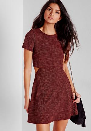 Missguided Textured Layered Skater Dress Casual Red