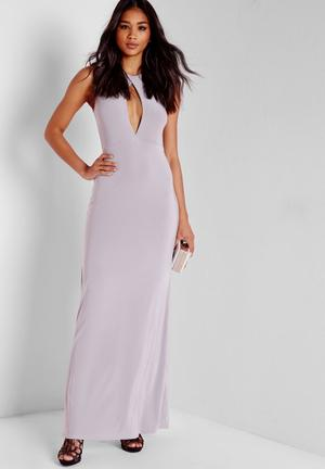 Missguided Slinky Cut Out Maxi Dress Occasion Grey