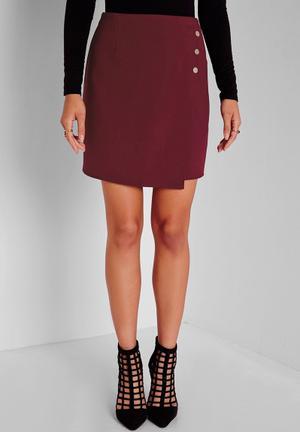 Missguided Gold Button Wrap Mini Skirt Burgundy