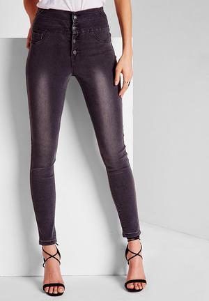 Missguided Sinner High Waisted Skinny Jeans Grey