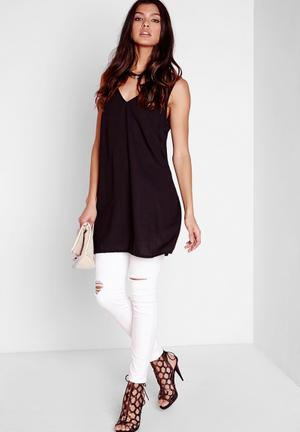 Missguided Plunge Neck Tab Back Cami Top Blouses Black