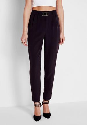 Missguided Buckle Detail Cigarette Trousers Black