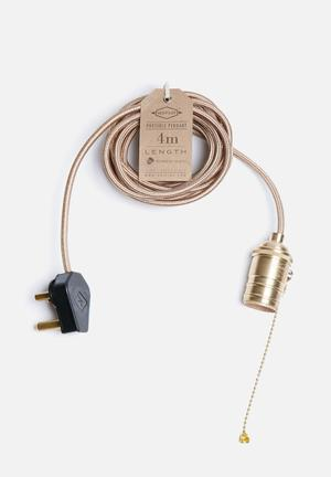 Hoi P'loy Champagne Portable Pendant Lighting Fabric Cord & Brass