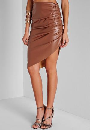 Missguided Faux Leather Ruched Asymmetric Midi Skirt Brown