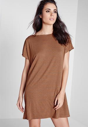 Missguided Oversized Stripe T-shirt Dress Casual Tan & Black