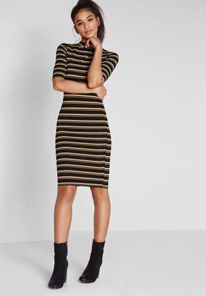 Missguided High Neck Dress Casual Camel & Black
