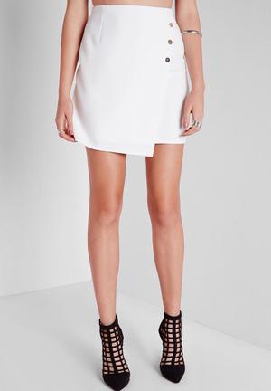 Missguided Gold Button Wrap Mini Skirt White