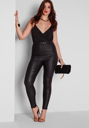 Missguided Plus Size Coated Skinny Jeans  Black