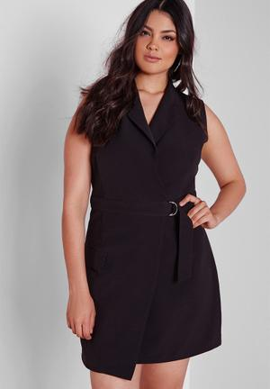 Missguided Plus Size Wrap D-ring Dress Black