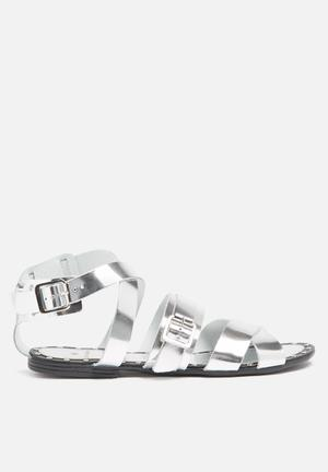 Pieces Jamie Leather Sandal Silver