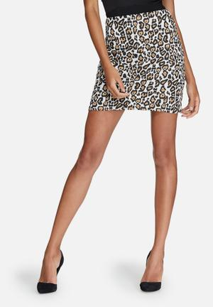 Missguided Jacquard A-line Mini Skirt Black & Brown