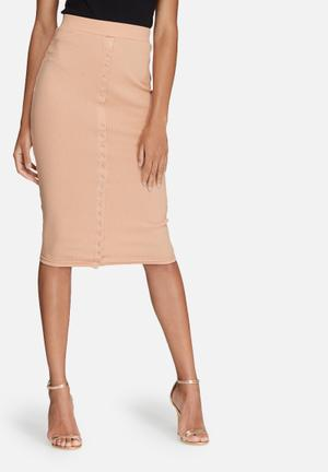 Missguided Ribbed Popper Through Maxi Skirt Nude