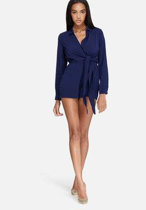 Missguided Wrap Front Shirt Playsuit Navy