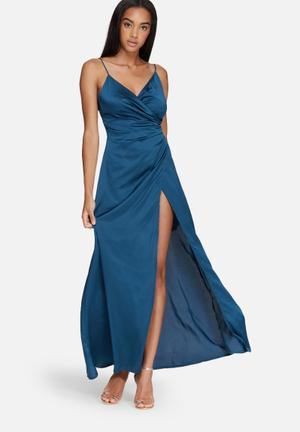 Missguided Silky Wrap Over Maxi Dress Occasion Blue