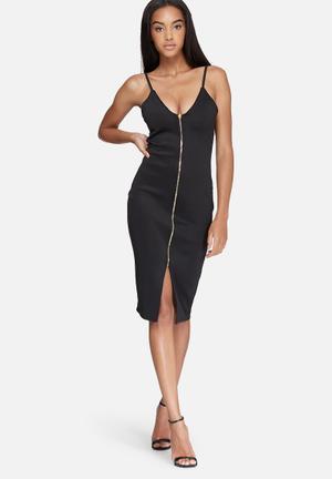 Missguided Zip Front Scuba Bodycon Dress Occasion Black