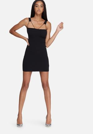 Missguided Double Strap Detail Bodycon Dress Occasion Black