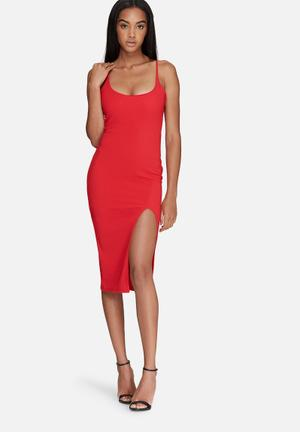 Missguided Strappy Scoop Neck Midi Dress Occasion Red