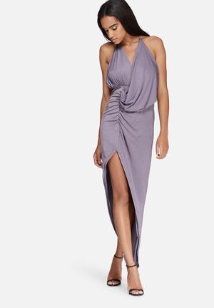 Missguided Slinky Drape Asymmetric Midi Dress Occasion Grey