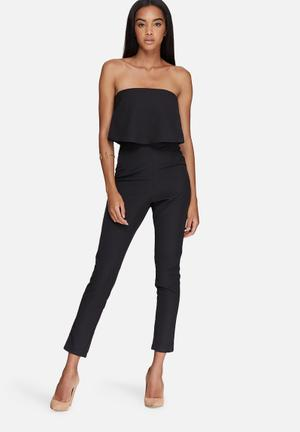 Missguided Bandeau Double Layer Jumpsuit Black