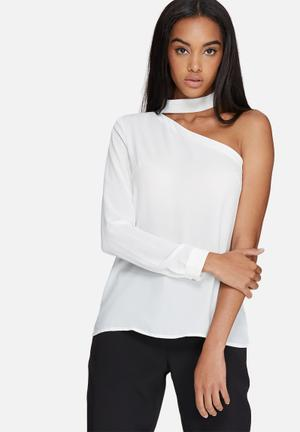 Missguided Choker Neck One Shoulder Blouse White