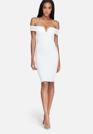 Missguided V-neck Bardot Midi Dress Occasion White