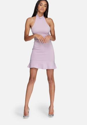 Missguided Fishtail Hem Halterneck Bodycon Dress Occasion Lilac