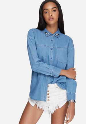 Daisy Street Longline Denim Shirt With Collar Embroidery Blue
