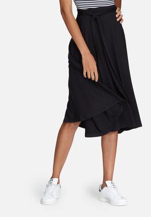 Dailyfriday Tie Waist Midi Skirt Black