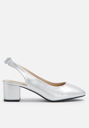Daisy Street Block Heel Slingback Silver