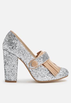 Daisy Street Glitter Heel Silver