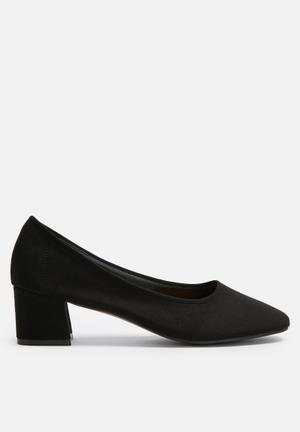 Daisy Street Block Heel Pump Black