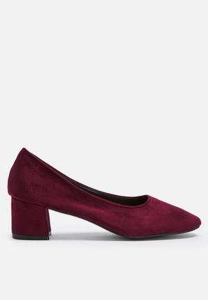 Daisy Street Block Heel Pump Burgundy