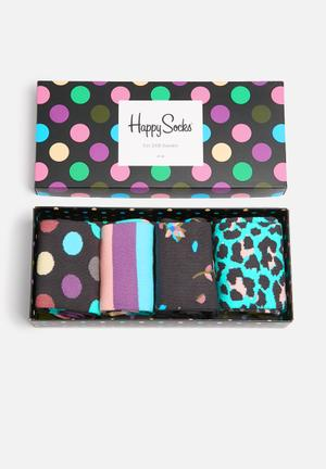Happy Socks Dot Gift Box Socks Green, Purple & Blue