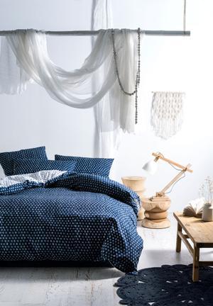 Linen House Oki Indigo Duvet Cover Bedding Stone-washed Cotton