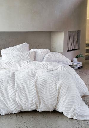 Linen House Drift Duvet Cover Bedding Ufted Cotton With Chenile Wave Pattern