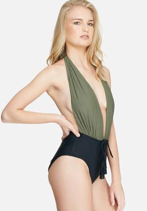 Missguided Halterneck Plunge Swimsuit Swimwear Khaki Green & Black