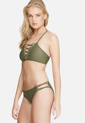 Missguided Lattice Bikini Set Swimwear Khaki Green