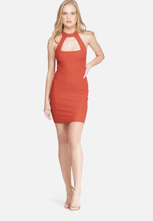 Daisy Street High-neck Dress Casual Rust