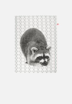 Present Time Racoon Tea Towel Kitchen Accessories 100% Cotton