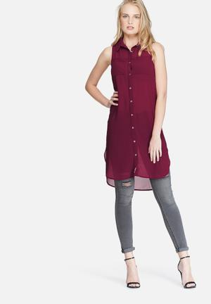 Dailyfriday Sleeveless Pocket Tunic Top Blouses Burgundy