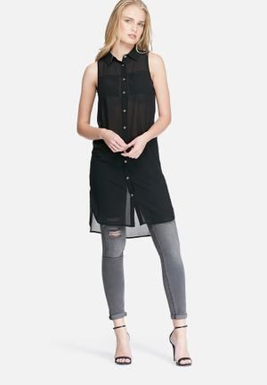 Dailyfriday Sleeveless Pocket Tunic Top Blouses Black