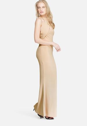 Missguided Wrap Halter Maxi Dress Occasion Nude