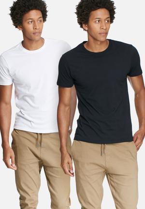 Basicthread 2 Pack Crew Neck Tee T-Shirts & Vests Black & White