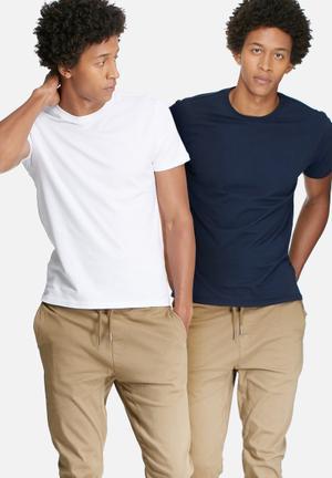 Basicthread 2 Pack Crew Neck Tee T-Shirts & Vests White & Navy