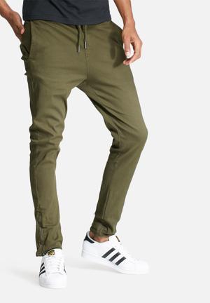 Basicthread Deco 2 Skinny Pants Khaki Green