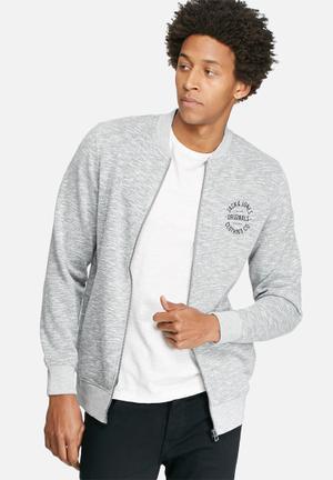 Jack & Jones Originals Break Bomber Sweat Hoodies & Sweatshirts Grey Melange