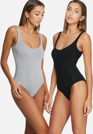 Dailyfriday Scoop Neck Bodysuit 2 Pack T-Shirts, Vests & Camis Grey & Black