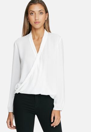 Dailyfriday Wrap Front Top Blouses White