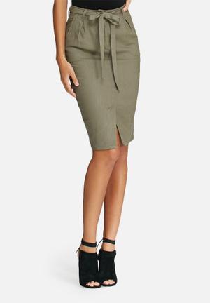 Dailyfriday Linen Pleated Skirt Olive